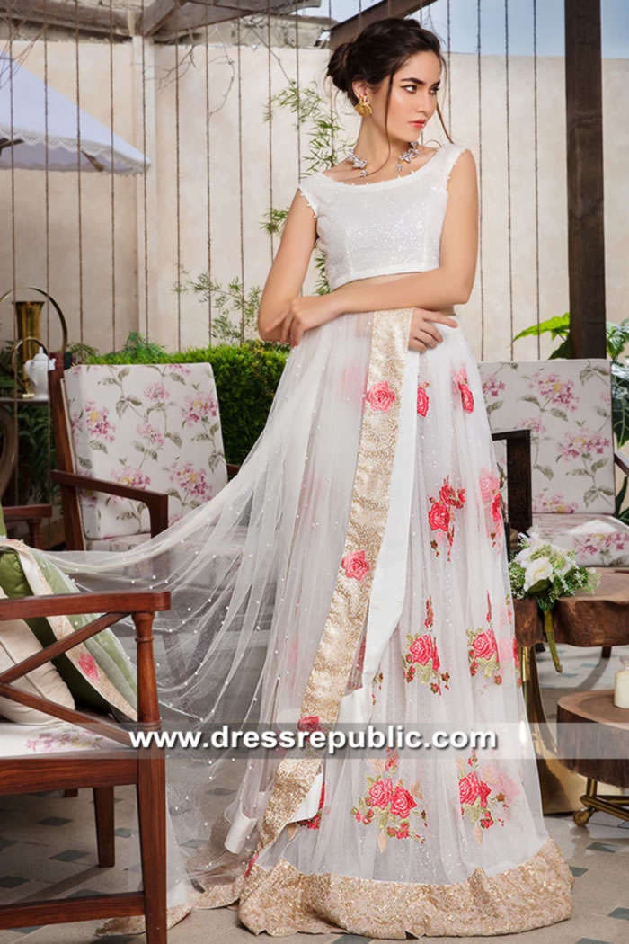 DR15636 Pearl White Lehenga Blouse for Daytime Wedding & Engagement Party