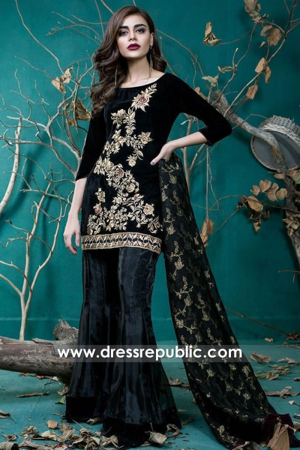 DR15733 Zainab Chottani Black Party Wear Sharara Dress 2020 Collection UK