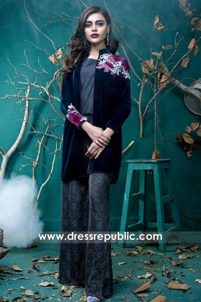 DR15739 Pakistani Designer Jacket Style Dresses 2020 USA, Canada, UK, Australia
