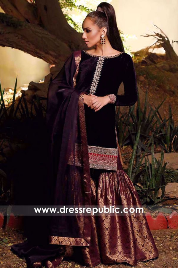 DR15742 Velvet Wedding Guest Dresses by Pakistani Designers in London, UK