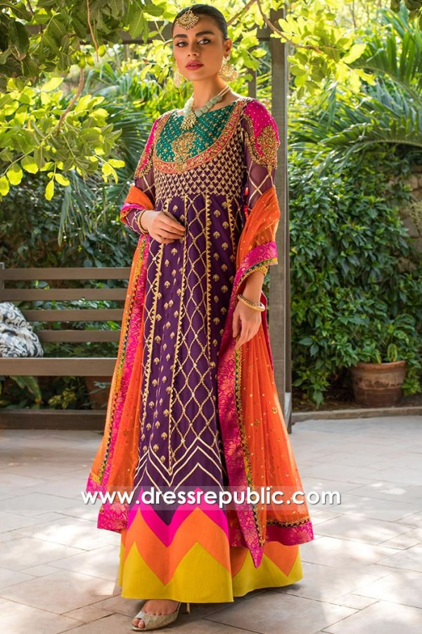 DR15750 Multi colored Special Occasion Dress for Mehndi Bride & Sangeet Party