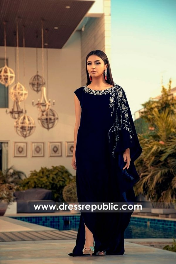 DR15783 Velvet Kaftan with Hand Embroidery Buy Online in USA, Canada, UK