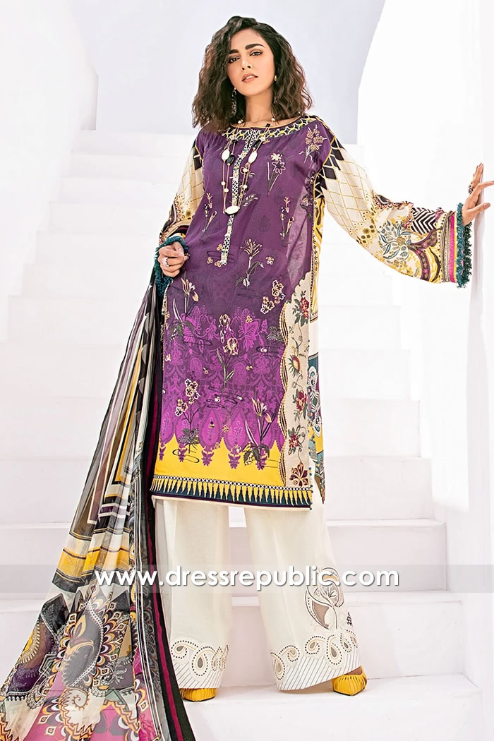 DRP1571 Baroque Fuchsia Lawn 2020 Singapore, Malaysia, Pakistan, India, Japan
