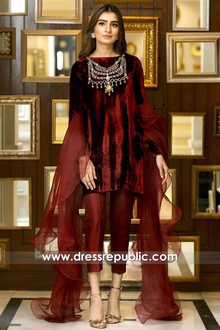 DR15914 Pakistani Designer Velvet Dresses Winter 2020 Collection Colorado, USA