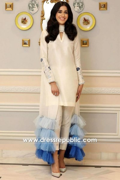 DR15915 Cream Short Shirt With Cropped Pants and Frilled Dupatta Shawl