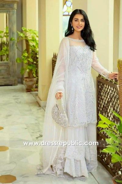 DR15982 Sarah Khan White Sharara, Sarah Khan White Dress Buy Online in USA