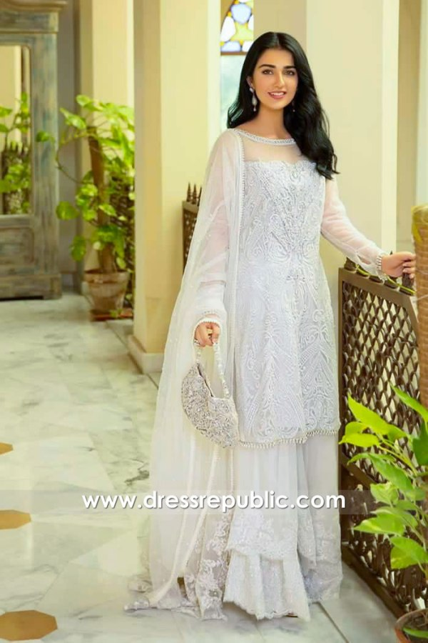 DR15982 Sarah Khan White Sharara, Sarah Khan White Dress Buy Online in USA