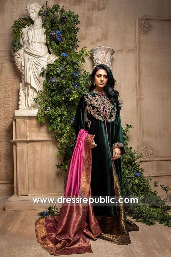 DR15983 Sarah Khan Green Velvet Dress 2021, Sarah Khan Style 2021 Buy Online