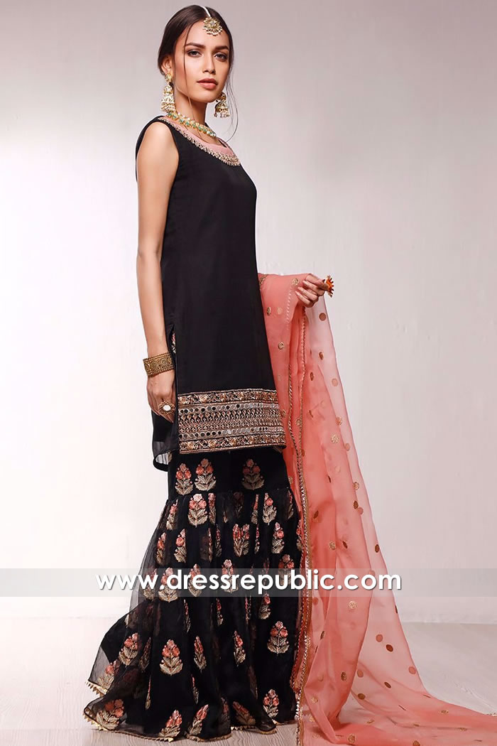DR16057 Black Floral Embroidered Gharara Style Online Shop in USA, Canada, UK