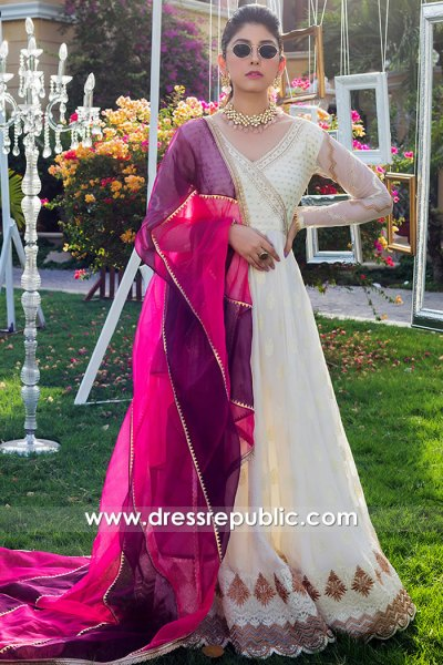 DR16058 Off white Mehndi Guest Dress Buy Online in USA, Canada, UK, Australia