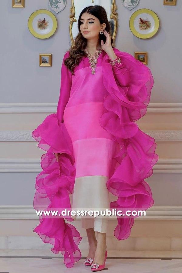 DR16072 Lipstick Pink Zehra Saleem Dress Buy Online in UK