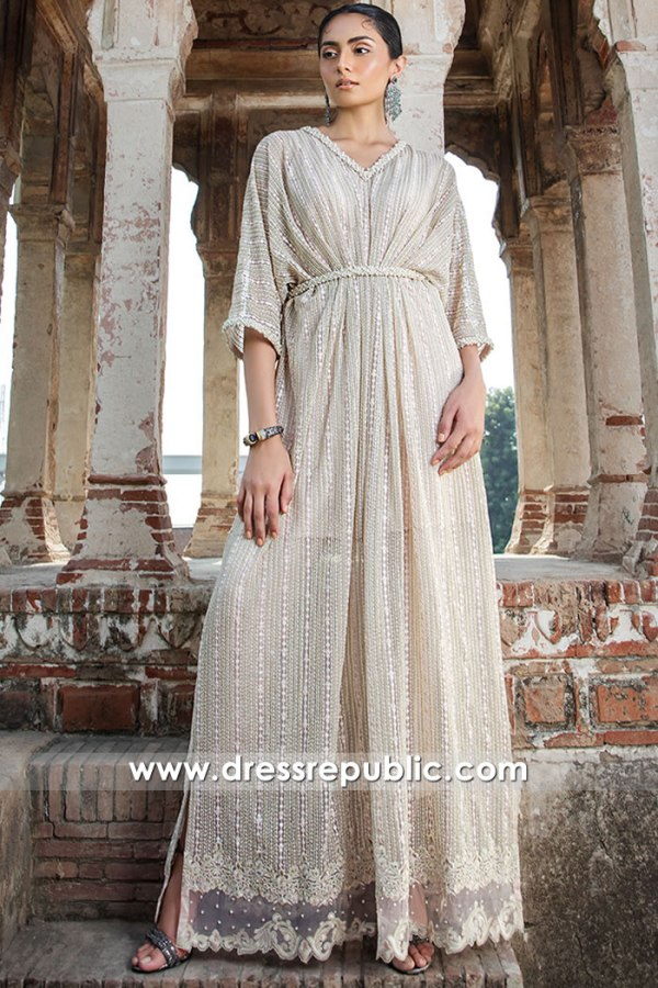 DR16100 Champagne Designer Kaftan Tops With Beautiful Embroidery Buy Online