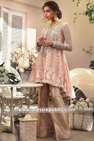 DR16151 Petal Pink Peplum Dress for Pakistani and Indian Wedding Guest 2022