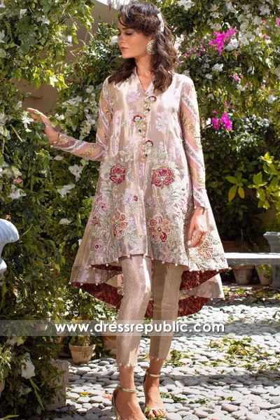 DR16165 Tea Pink Peplum Dress Handmade Floral Embroidery Shop Online USA