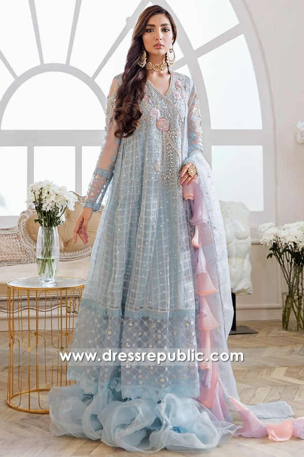 DR16168 Sky Blue Angarkha Engagement Bride Dress Online USA, Canada, UK