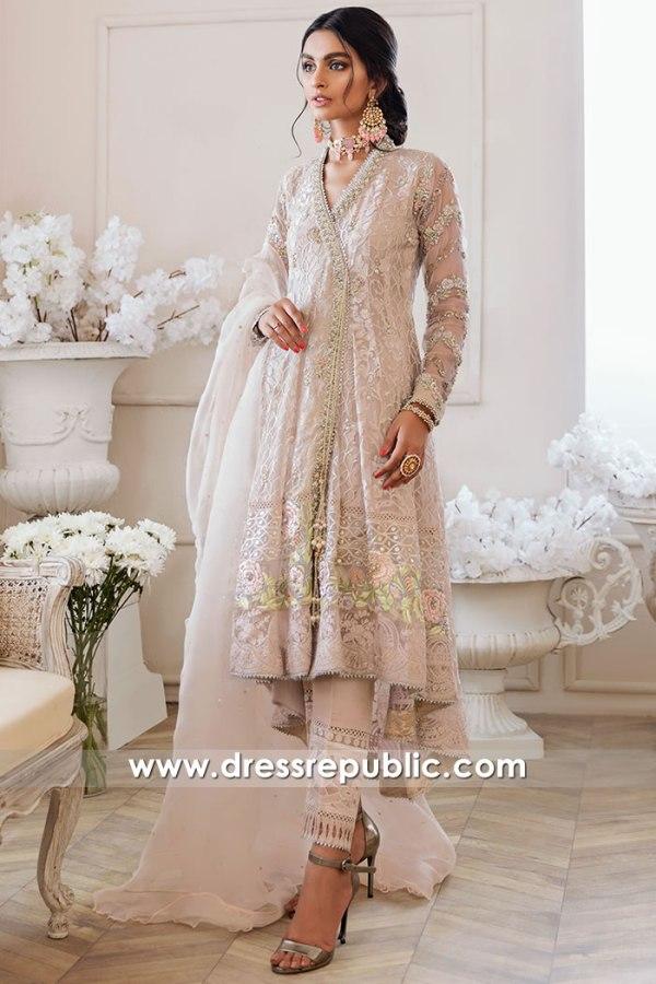 DR16169 Tea Pink Angarkha Dress Indian Pakistani Wedding Guest