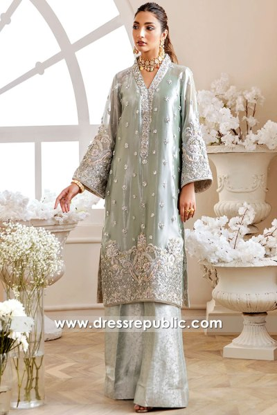 DR16172 Pale Green Dress for Desi Wedding in New York, New Jersey, USA