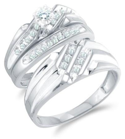 Size 45 14K White Gold Diamond Mens And Ladies Couple