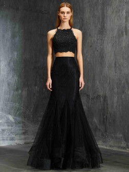 Zweiteilige Ballkleider   Kaufen 2018 G    nstige Zweiteilige     Trumpet Mermaid Spaghetti Straps Sleeveless Applique Floor Length Net Two  Piece Dresses