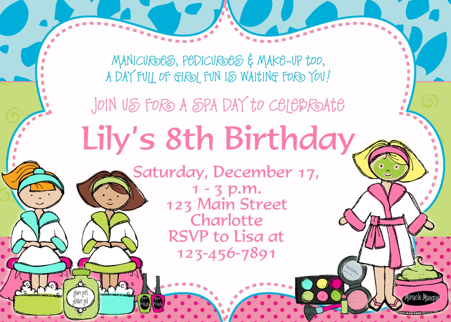 Kids Birthday Invite Templates kids birthday invitation wording – Spa Party Invitation Wording