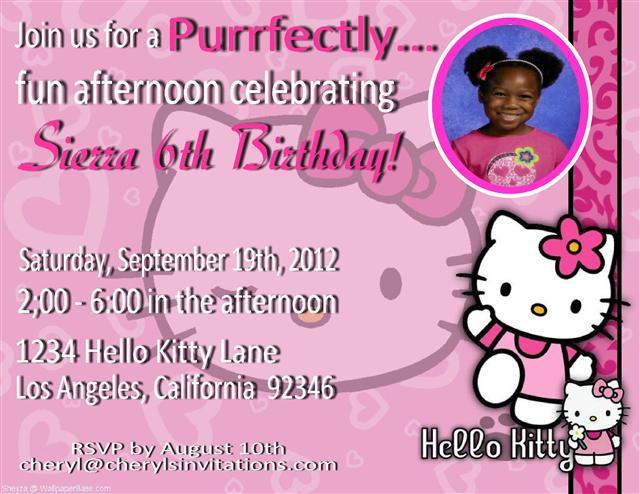 Hello Kitty Birthday Party Invitation Wording Ideas FREE Invitation Templates Drevio