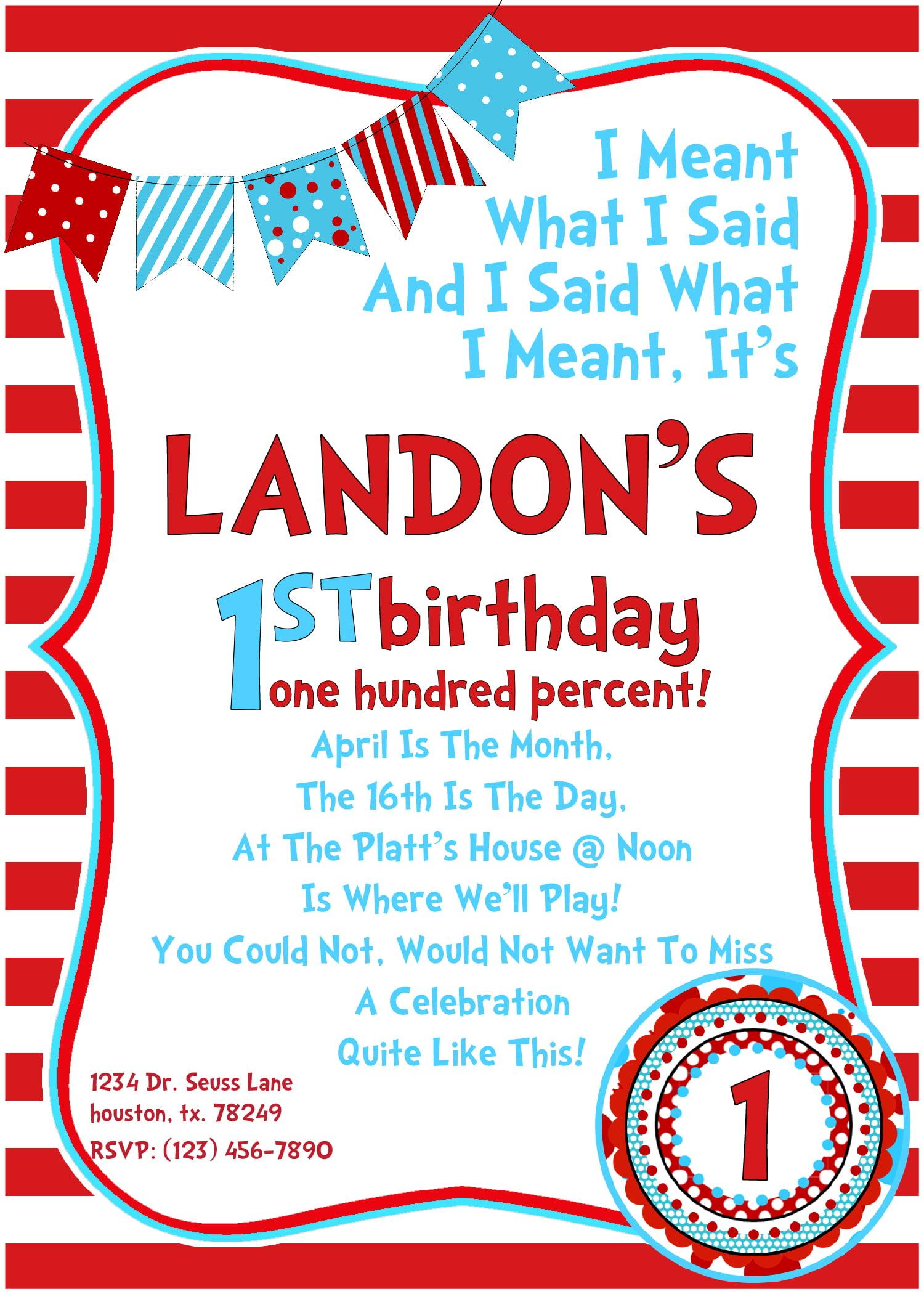 Dr Seuss Birthday Invitations Wording FREE Invitation
