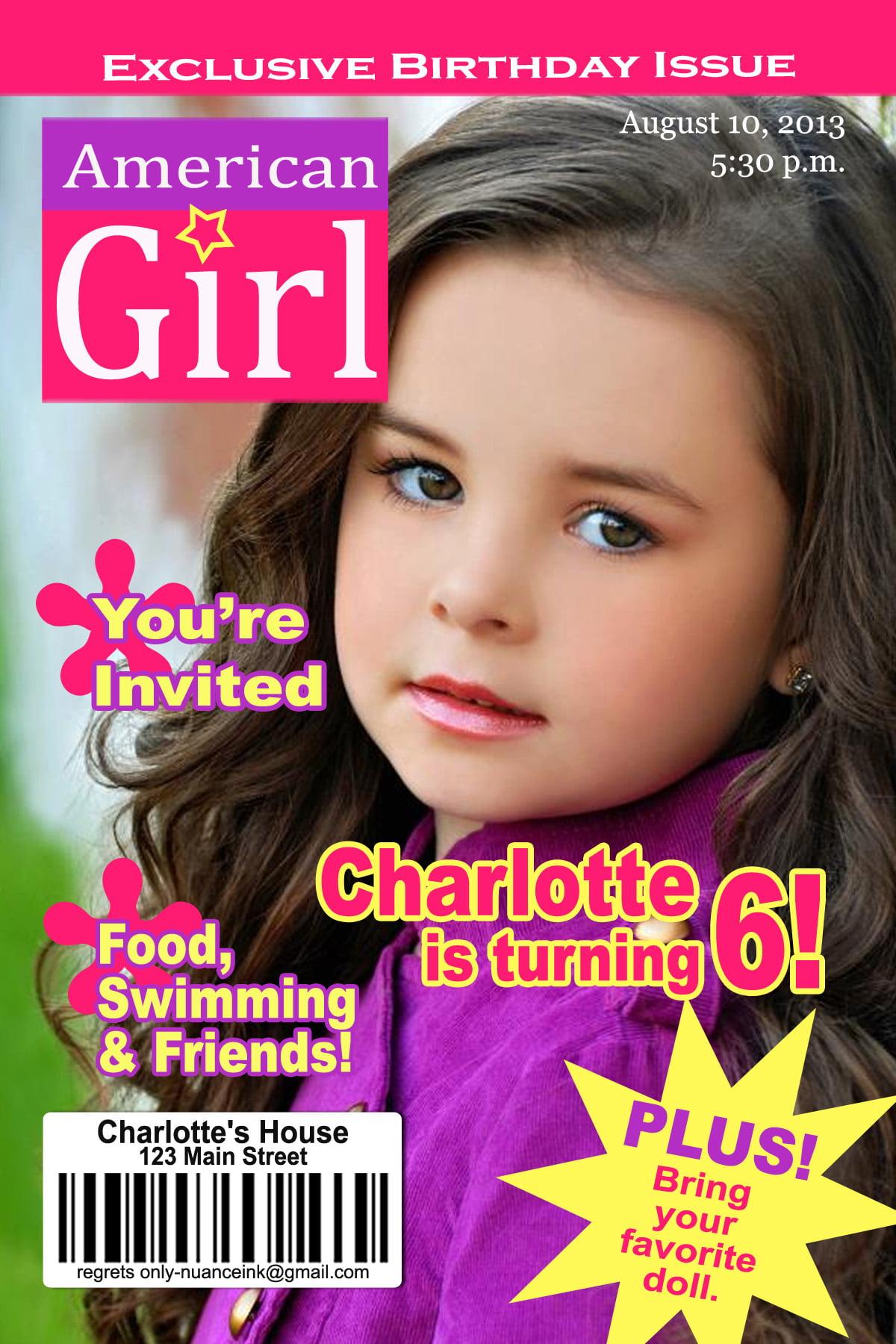 American Girl Dolls Birthday Party Invitations
