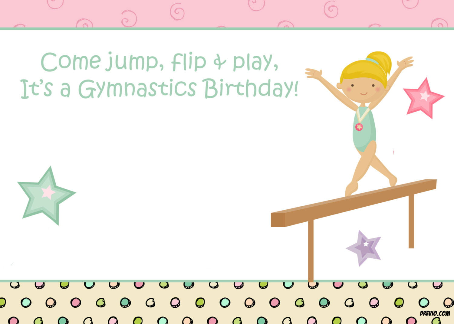 Free Printable Gymnastic Birthday Invitations Updated