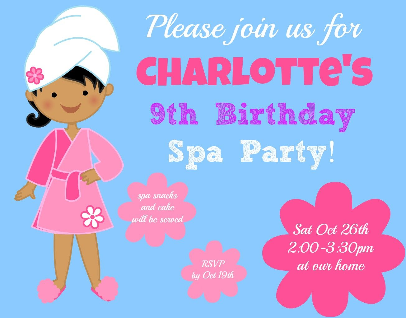 9 Years Old Birthday Invitations Wording