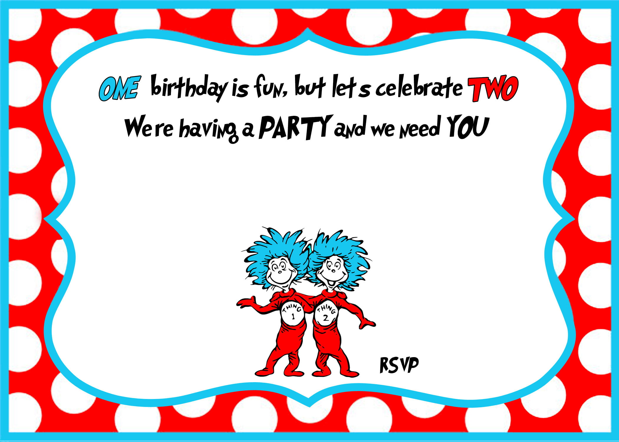 Dr Seuss 1st Birthday Invitation Template Update