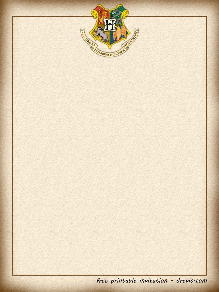 FREE Printable Harry Potter Hogwarts Invitation Template FREE Invitation Templates Drevio