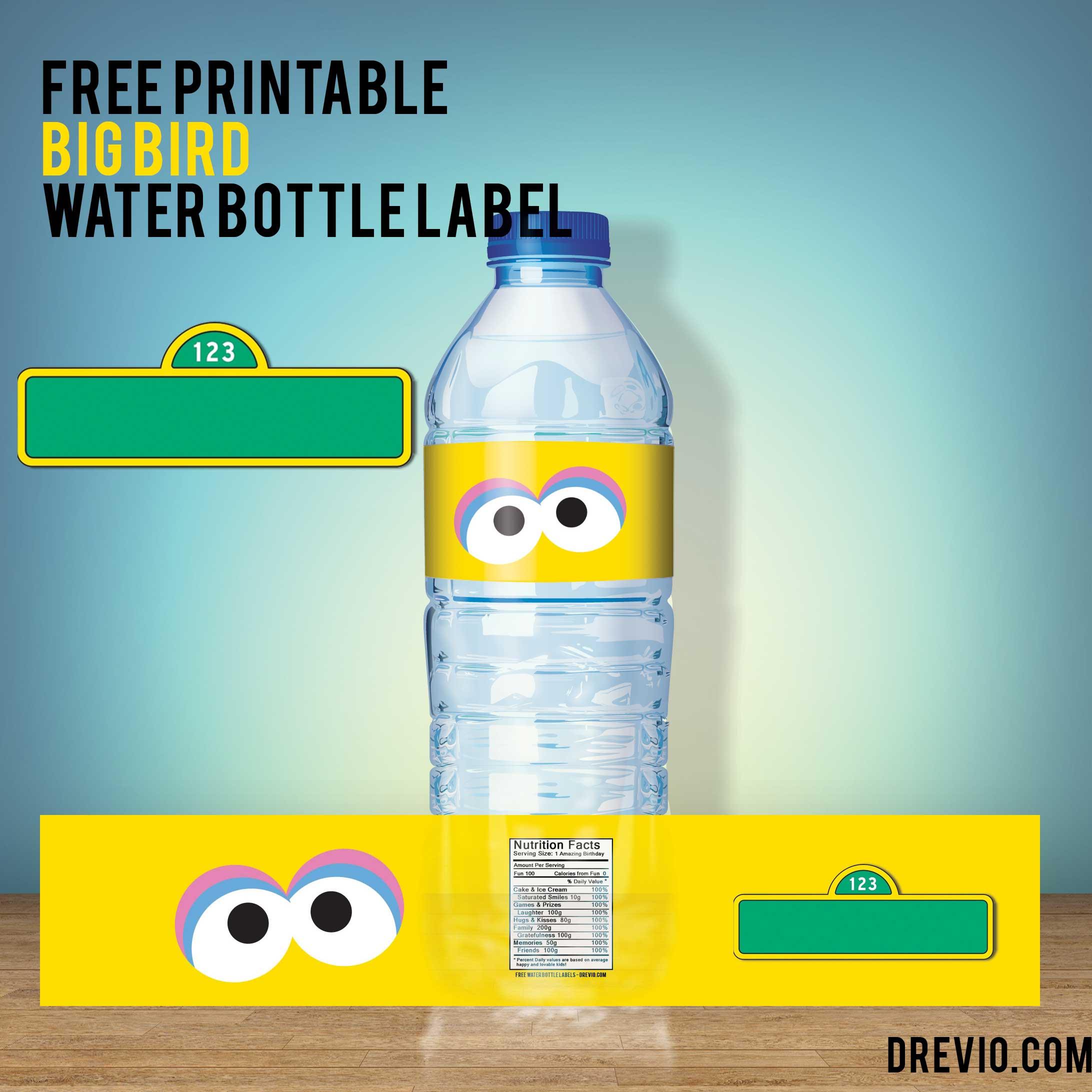 Free Printable Big Bird Sesame Street Water Bottle Label Free Invitation Templates