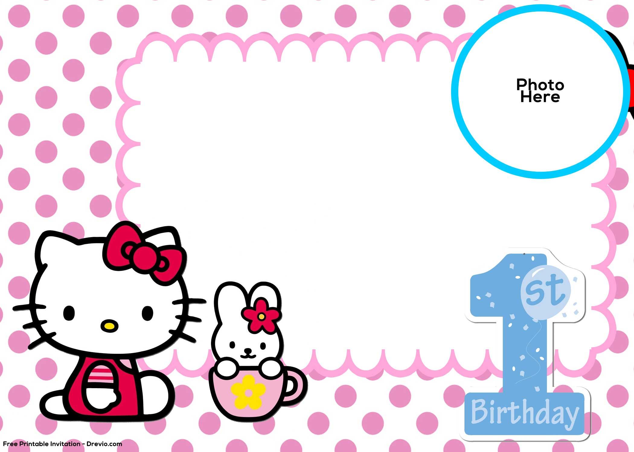 Free Hello Kitty 1st Birthday Invitation Template Free