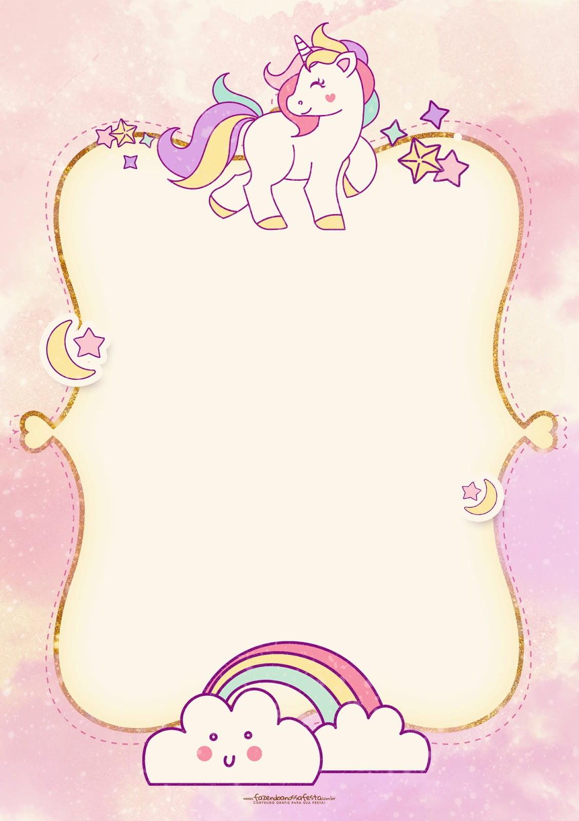 free printable golden unicorn birthday