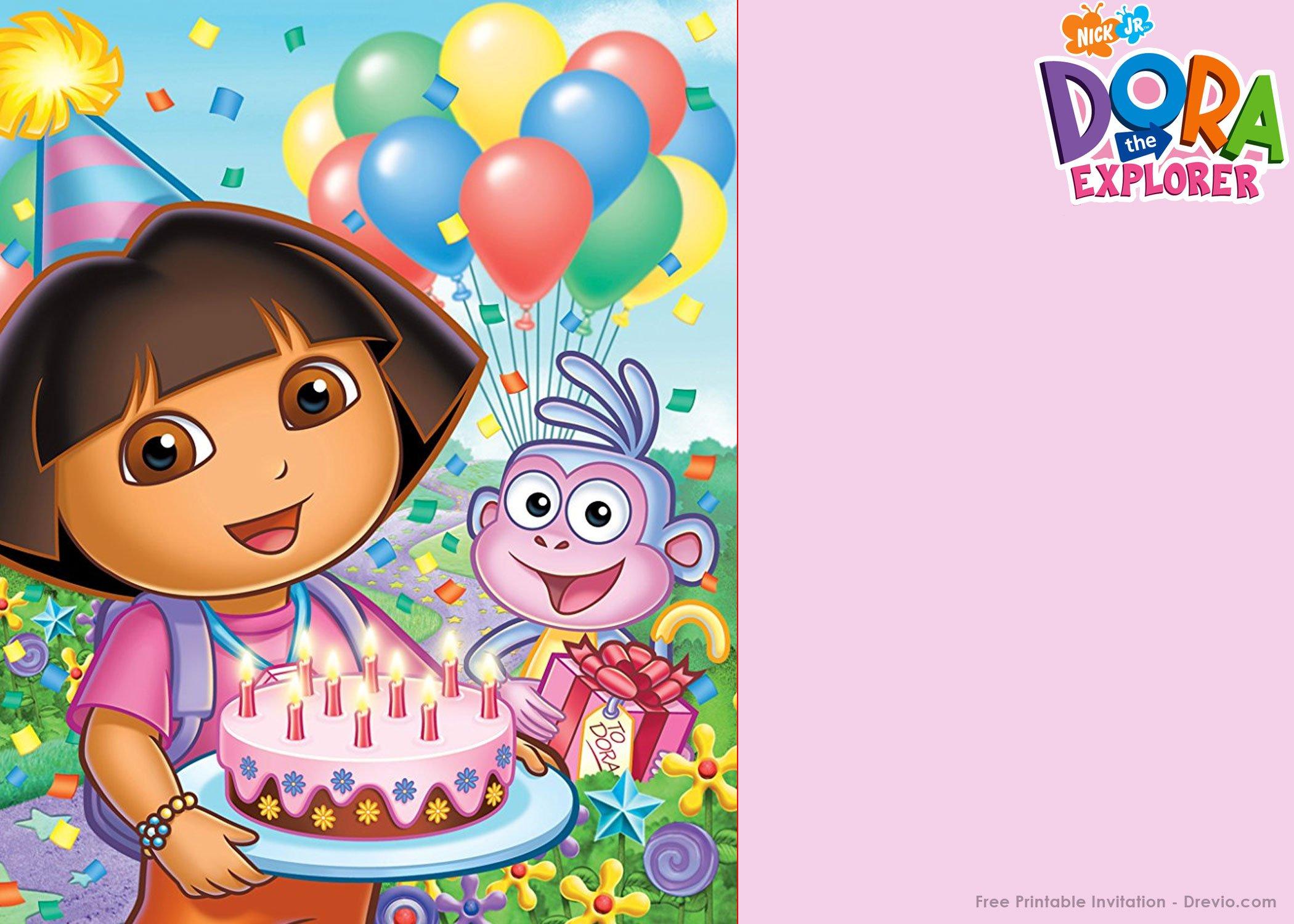 Free Printable Dora The Explorer Party Invitation Template