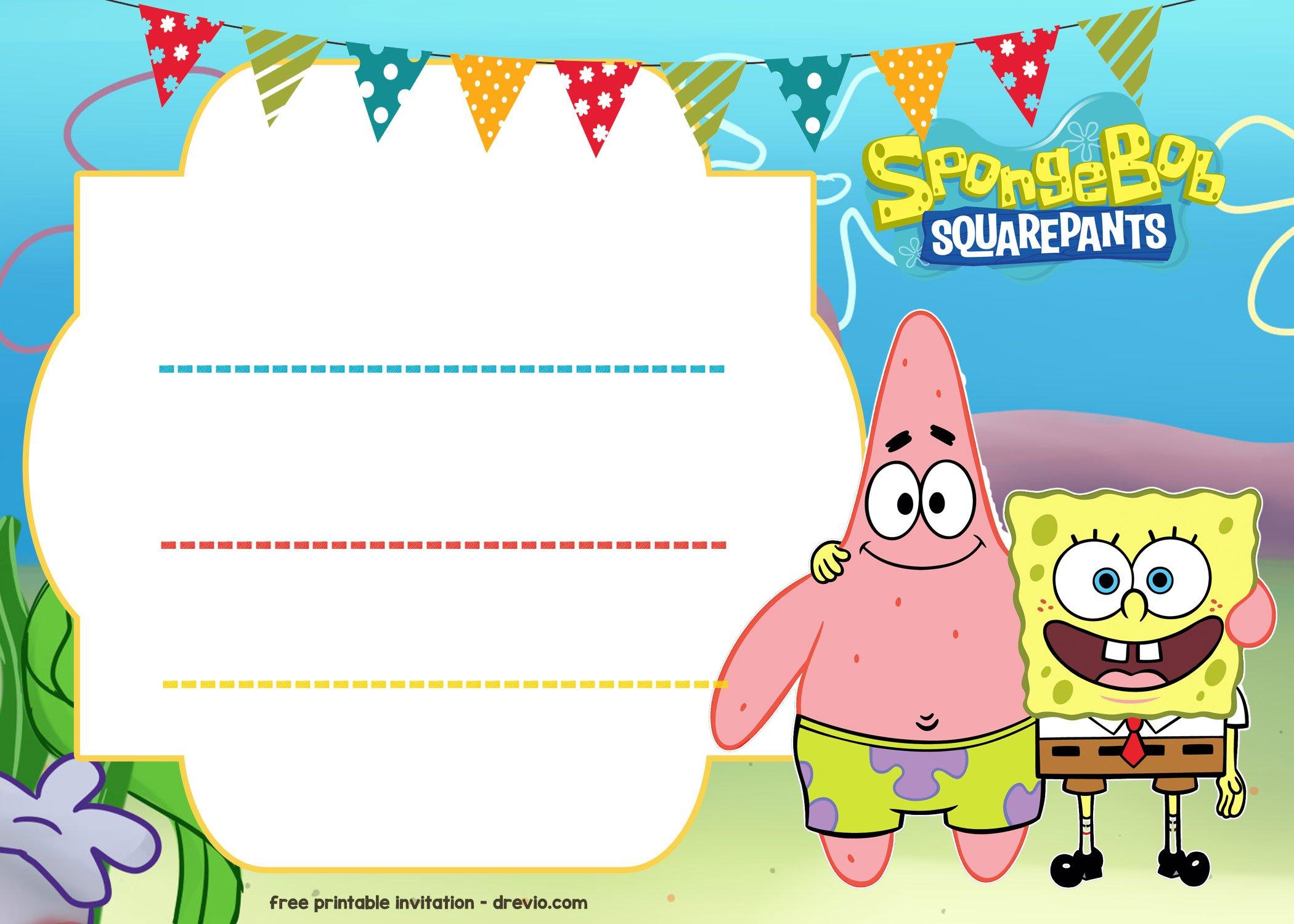 Free Spongebob Birthday Invitation Template Free