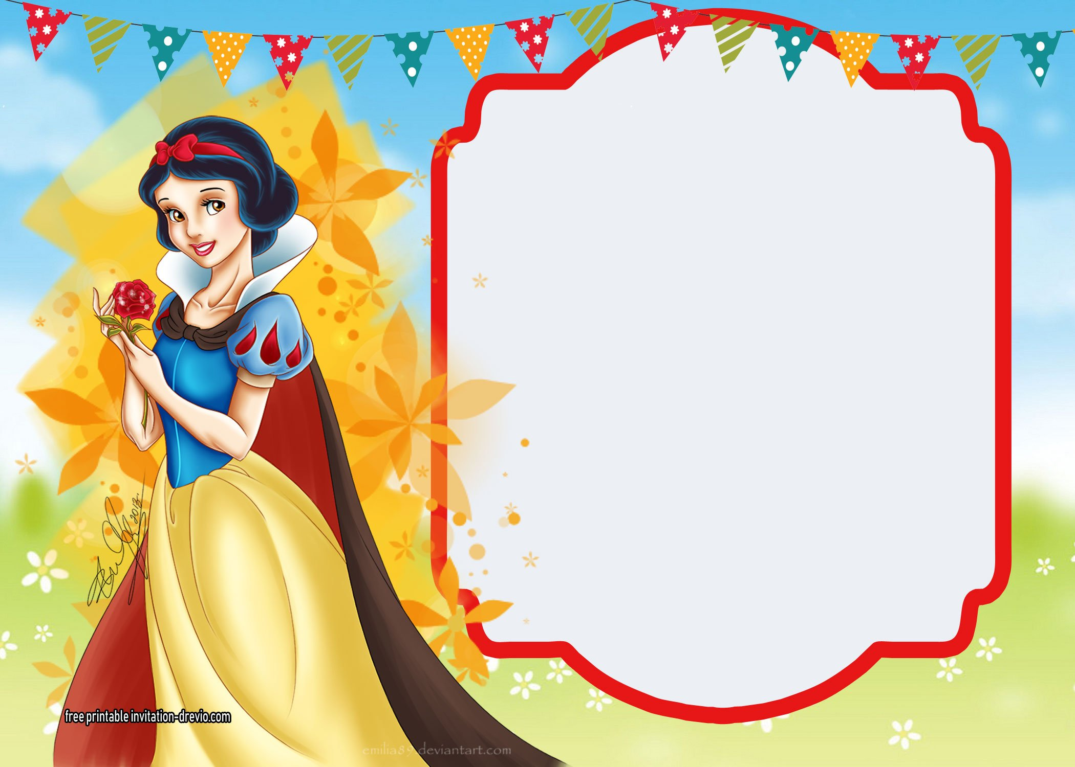 free printable snow white invitations