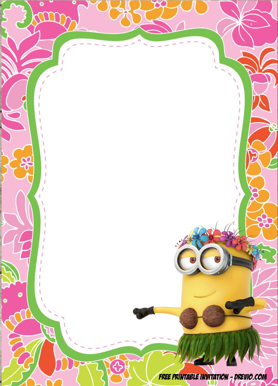 free minions luau birthday invitation