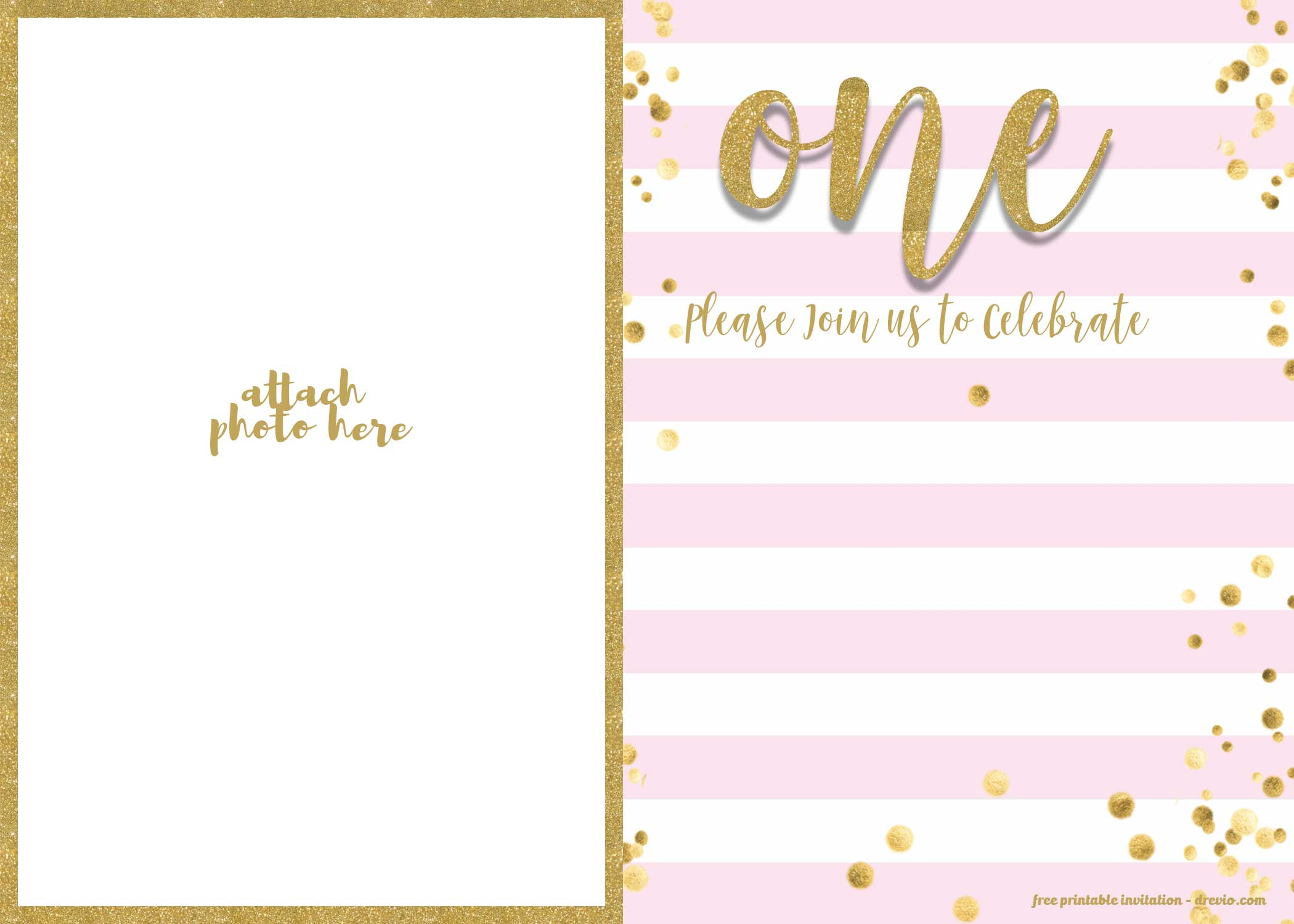 free 1st birthday invitation pink and
