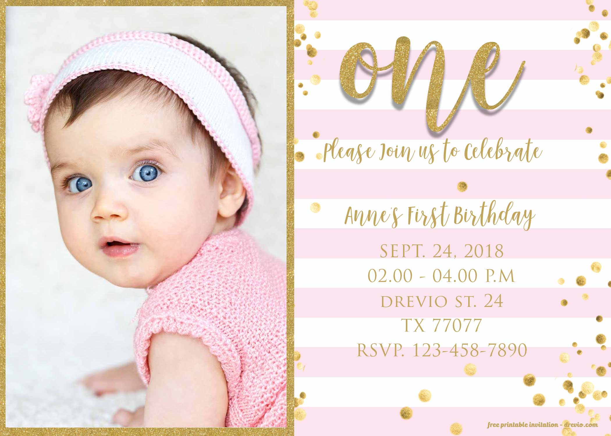 Free 1st Birthday Invitation Pink And Gold Glitter Template Download Hundreds Free Printable Birthday Invitation Templates