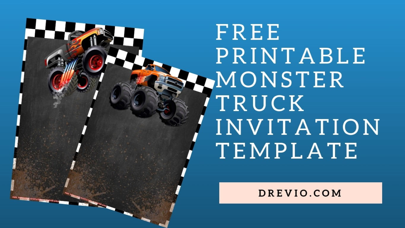 free printable monster truck invitation