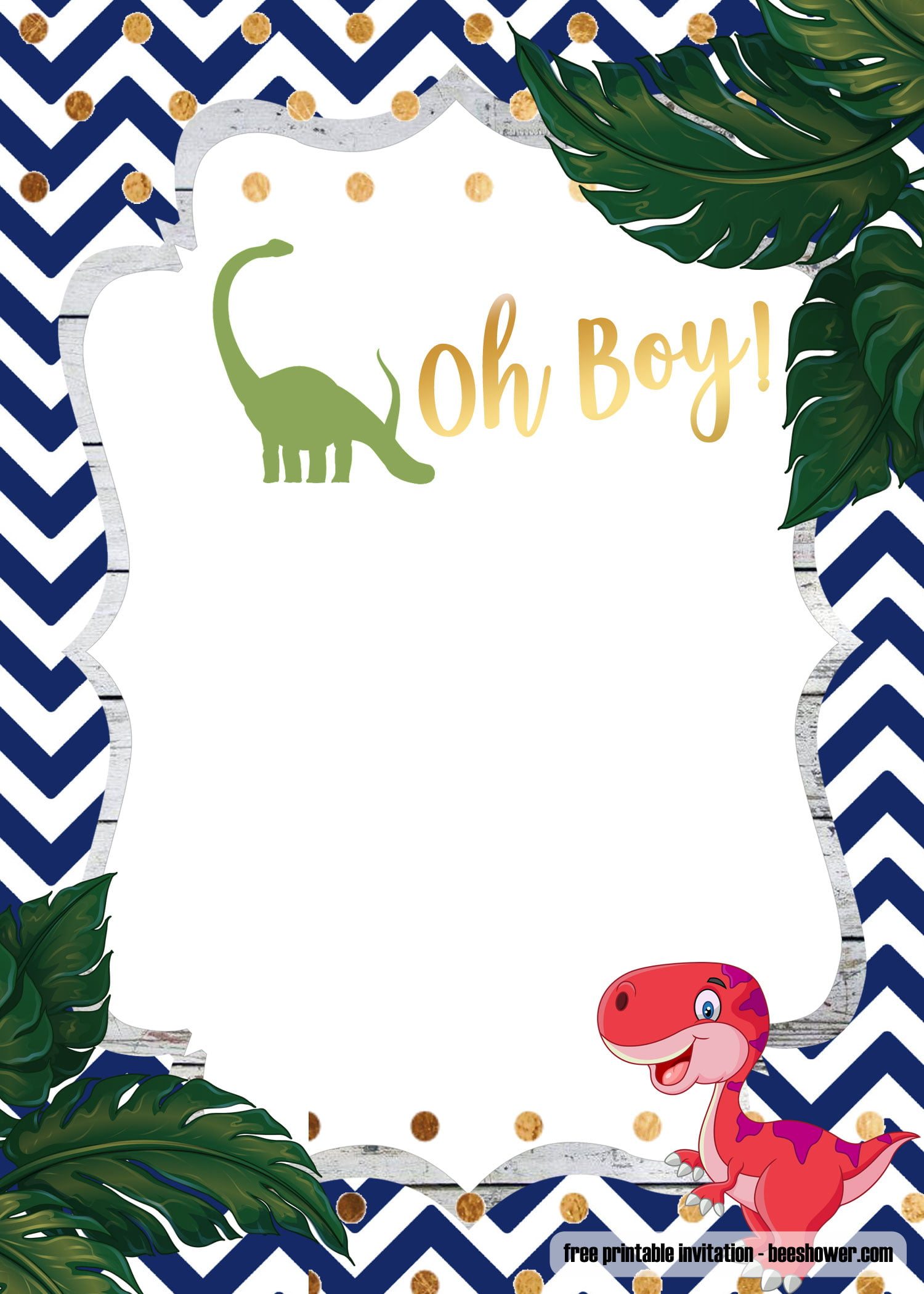 A Dinosaur Template For Your Baby Shower Invitation