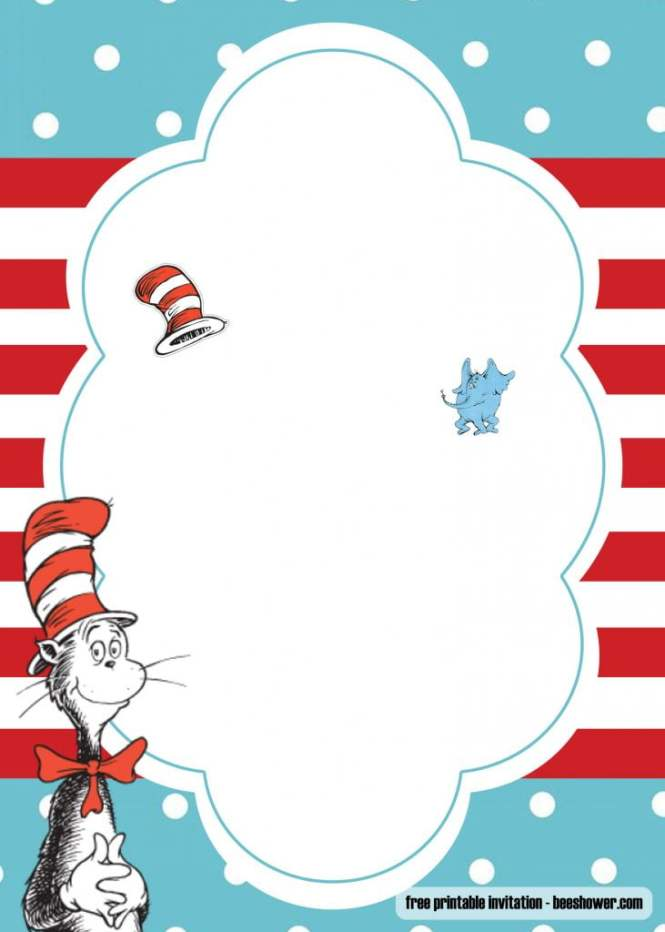 Free Dr Seuss Template For Your Baby Shower Invitations