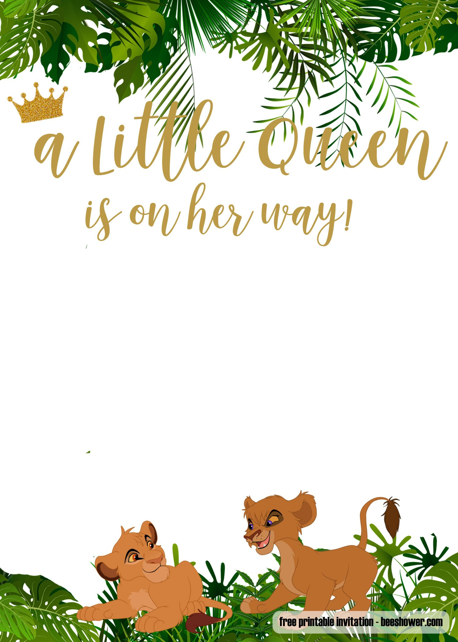 FREE Printable Lion King Baby Shower Invitations Templates FREE Invitation Templates Drevio