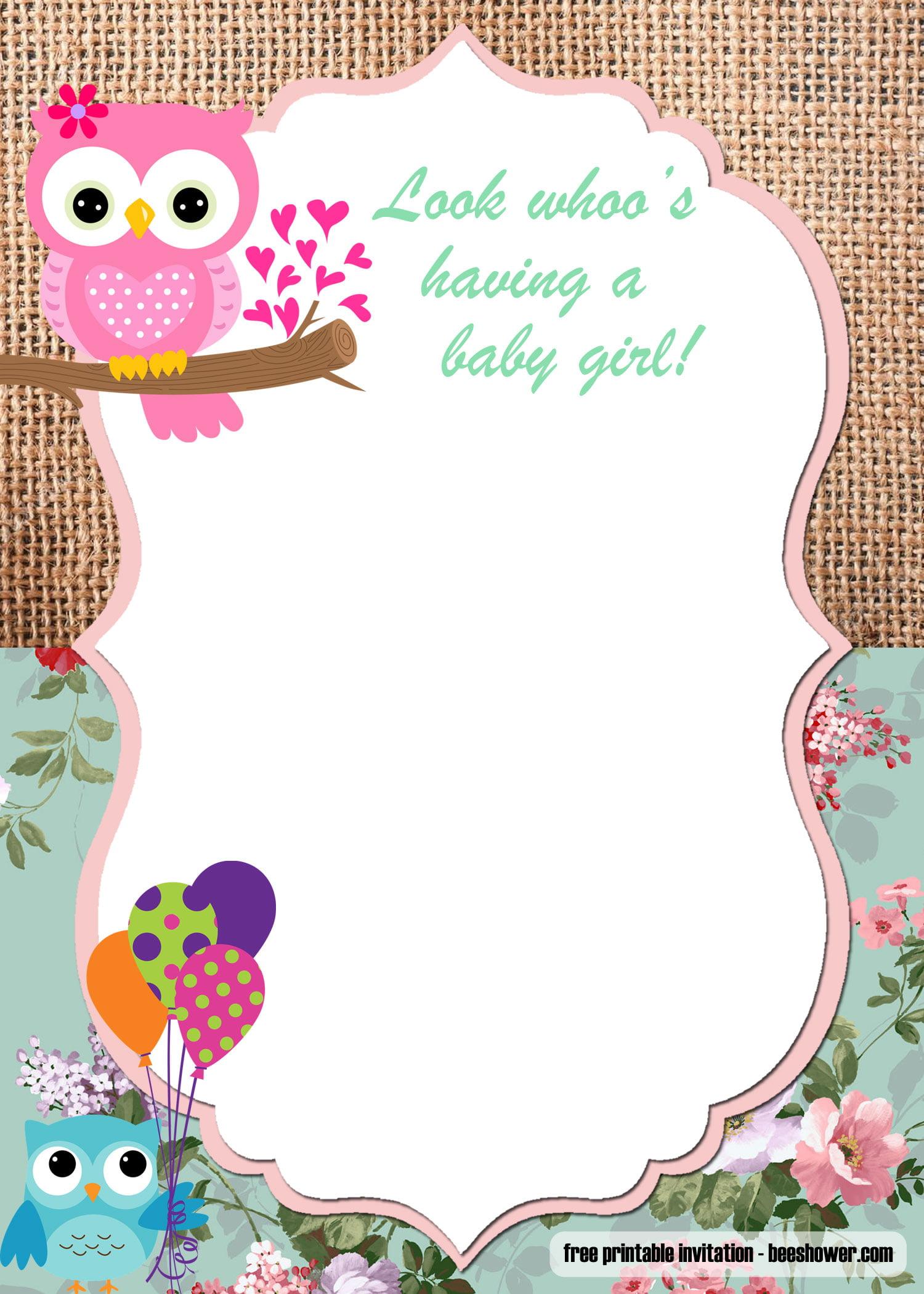 Free Printable Owl Baby Shower Invitations Templates Free Invitation Templates
