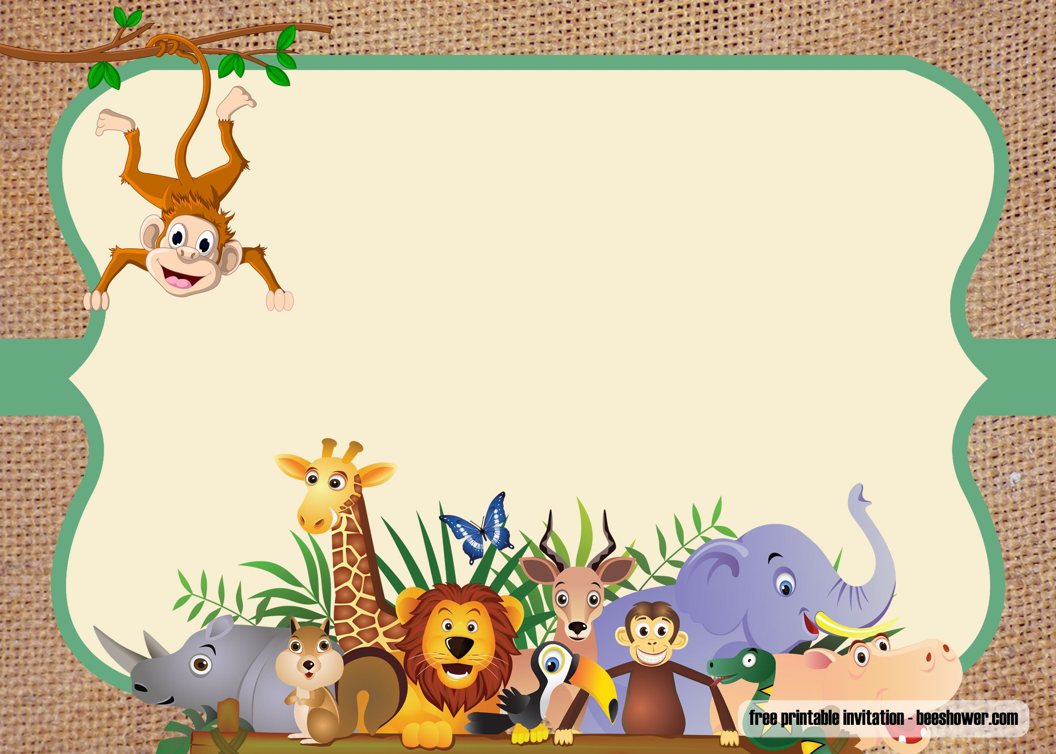 Free Safari Theme Baby Shower Invitations Templates