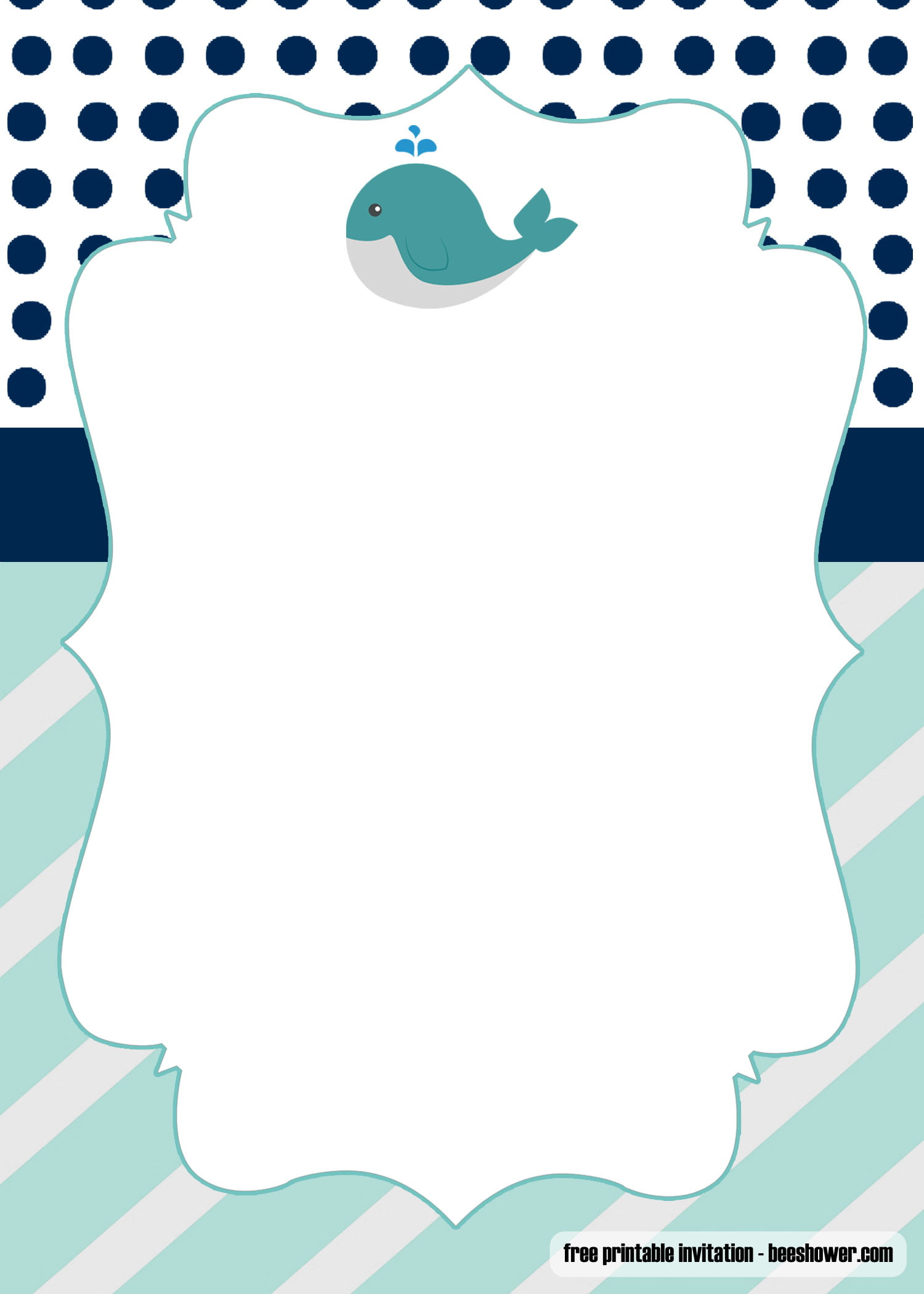 Free Printable Whale Baby Shower Invitations Templates