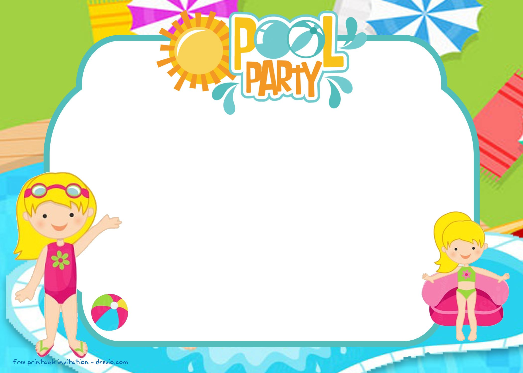 Free Printable Pool Party For Girls Invitations