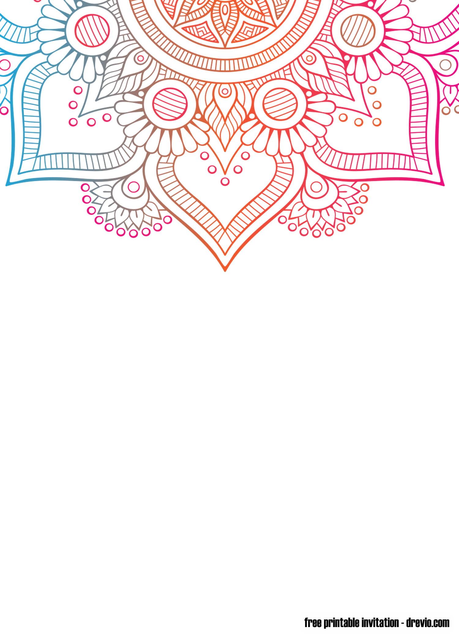 Free Printable Mandala Yoga Invitation Templates
