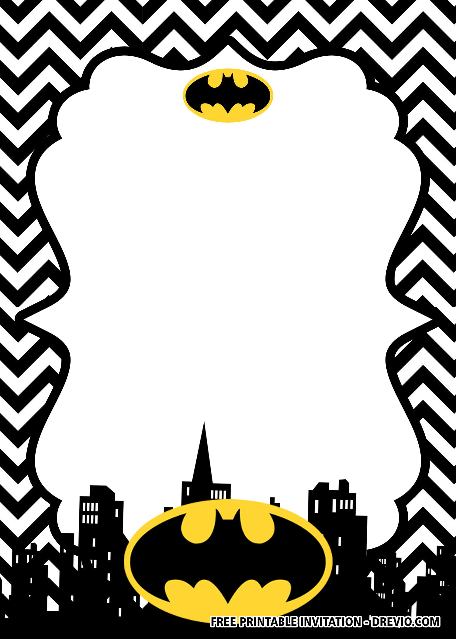 Free Printable Batman Birthday Invitation Templates